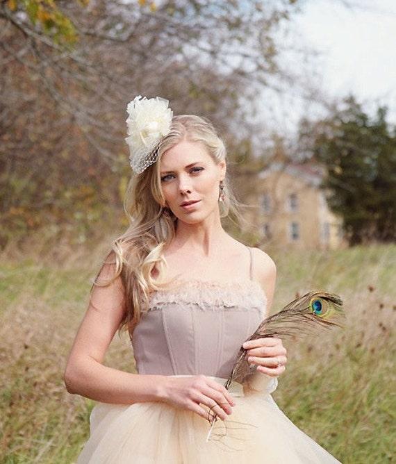 Romantic neutral toned shabby blossom bodice. Ballerina look with two toned blossom trim. Boned bodice.