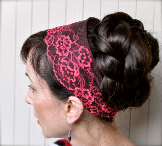 Head wrap headband--chocolate raspberry lace stretch head covering. Ready to ship.