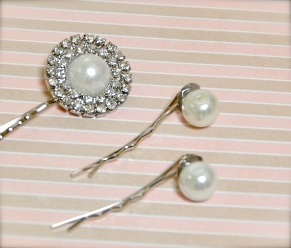 Sale--Rhinestone and pearl bobby pins. Ready to ship.
