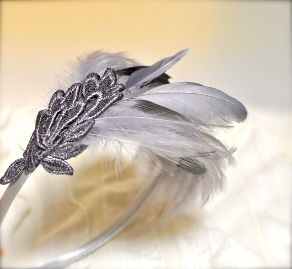 Dove Pale Grey Feather Fascinator. A chic classic with a touch of lace. Ready to ship.