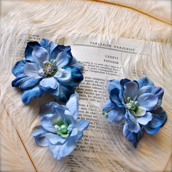 Sale--Blue flower bobby pins and clip. Rhinestone and pearl embellished. Evening and bridal accessory. Something blue.