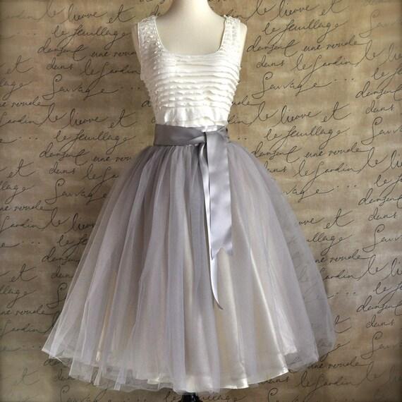Pale grey tulle tutu skirt for women with ivory satin lining- tea length, classic ballerina retro skirt.