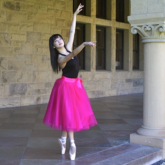 Raspberry pink tulle tutu skirt for women. Ballet glamour.