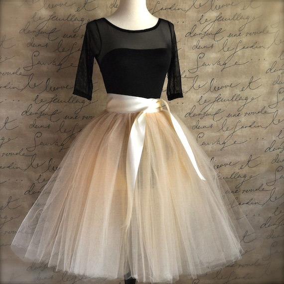 Champagne tulle  tutu skirt with ivory satin waist for  women. Custom length unlined.