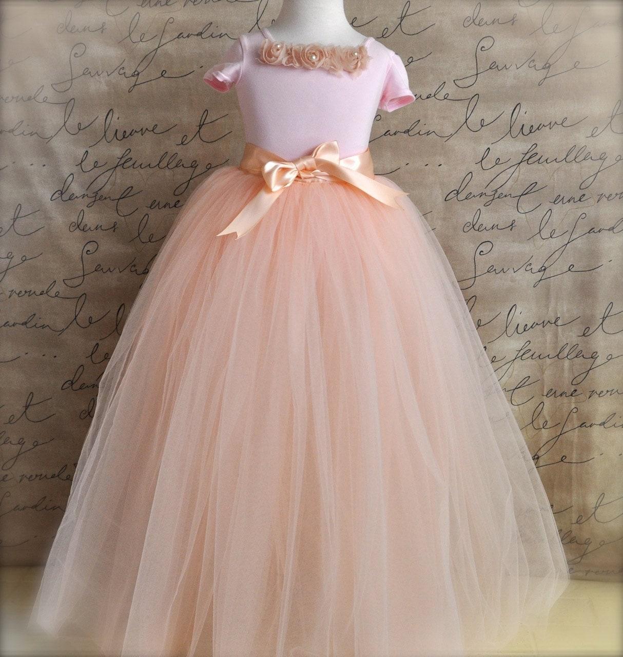 Vintage pink Flower Girl princess tutu blush pink tulle and