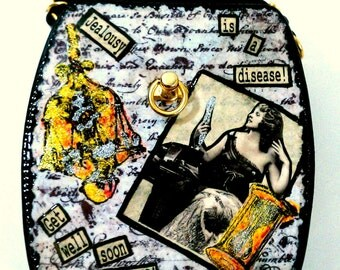 Crossbody Clutch Hard Shell Decoupage Collage handbag  Jealousy is a Disease...Get well soon BYCHES