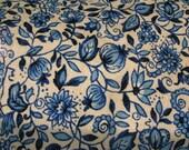 vintage blue floral canvas cotton duck cloth fabric remnant