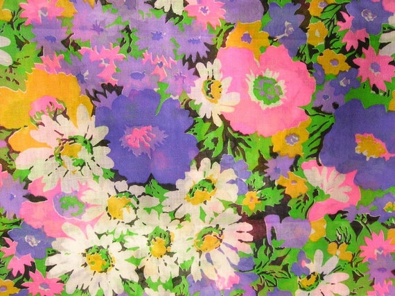 Vintage Floral Daisy Print Fabric 60s or 70s Mod Purple, Neon Pink, Yellow and Green Yardage