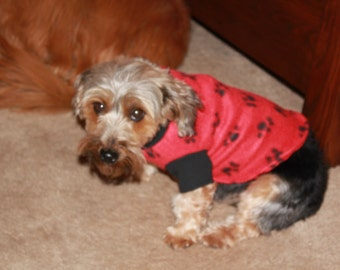 Red and Black Fleeced Dog Coat