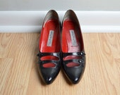 Pumps Heels Leather Black Mary Jane 40s Style Witch Vampire Costume Halloween Vintage 9 - 9.5 N
