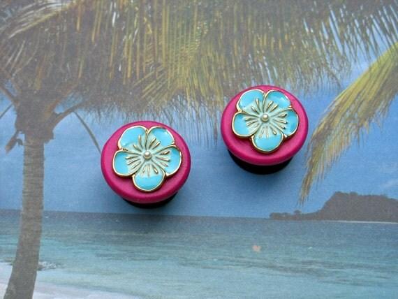 "Bright Like Neon Hawaii Tropical Flower Plugs Earrings - Pink and Blue - CUSTOM 6g 4g 2g 0g 00g 7/16"" 1/2"" 9/16"" 5/8"" 3/4"" 7/8"" 1"""