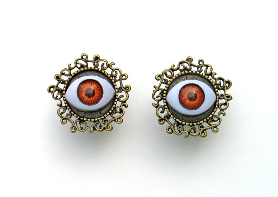 "Window To The Soul - All Seeing Eye Plugs Earrings - CUSTOM 6g 4g 2g 0g 00g 7/16"" 1/2"" 9/16"" 5/8"" 3/4"""
