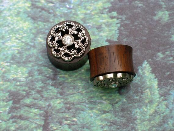 "Nature's Bride - Silver Filigree & Wood Plugs - 5/8"""