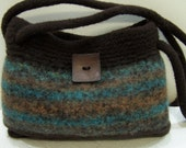 Felted Wool Handbag Purse Woodland Shades of Brown, Green, Blue - fully lined in fabric