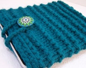 Knit IPad Sleeve, Knit Notebook Case, Knit Tablet Sleeve, Knit Case in Peacock Blue Button Closure