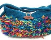 Knit Felted Wool Hobo Purse,  Wool Felted Handbag, Hand Knit Purse,  Teal Green Fabric Lined Inside Pockets