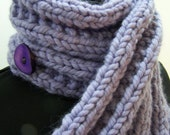 Chunky Knit Merino Wool Button Scarf, Chunky Knit Neckwarmer, Merino Wool Ribbed Button Scarf, Winter Trends, Big Knit Scarf, lavender
