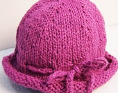 Knit Cotton Hat Toddler Girl, Knit Baby Beanie Hat in Pink, Pink Hat With Bow, Hand Knit Hat Little Girl, Cotton Hat with Bow Pink, Pink Hat