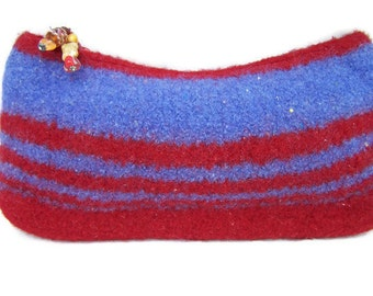 Felted Wool Cosmetic Bag, Felted Wool Clutch, Felted Purse, Boiled Wool Handbag, Zipper Clutch in Cornflower Blue & Red, Beaded Zipper Pull