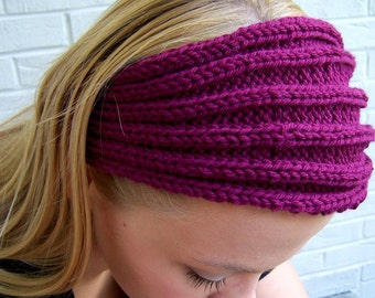Washable Merino Wool Knit Earwarmer, Wide Knit Pink Headband, Merino Wool Headband in Raspberry Pink, Warm Winter Headband, Chunky Knit Band