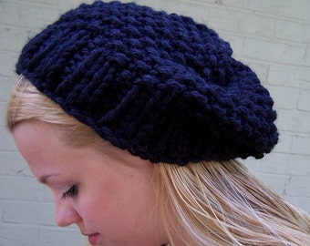 Black Chunky Knit Slouch Hat, 2 day Made to Order,  Big Knit Black Hat, Big Knit Slouchy Hat in Black, Winter Trends, Knit Black Toque