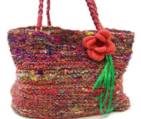 Market Bag Knit Tote Bag Large Purse Recycled Upcycled Silk Sari with Felted Wool Flower Fabric Lining