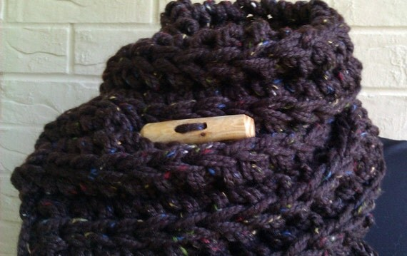 Reserved for Amanda Chunky Scarf Ribbed Knit Chocolate Brown Tweed With Matching Slouchy Hat
