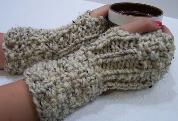 Chunky Knit Fingerless Gloves Long Cream Wheat