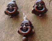 Earring and Pendant Set - Laughing Buddha - Ox Bone - Sterling Silver