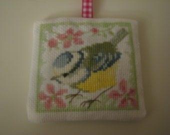 Yellow Bird Hanging Lavender Sachet Hand Cross Stitch