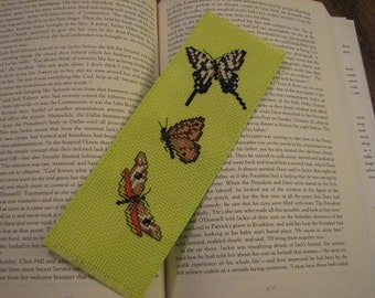 Beautiful Green Hand Cross Stitched Butterfly Bookmark