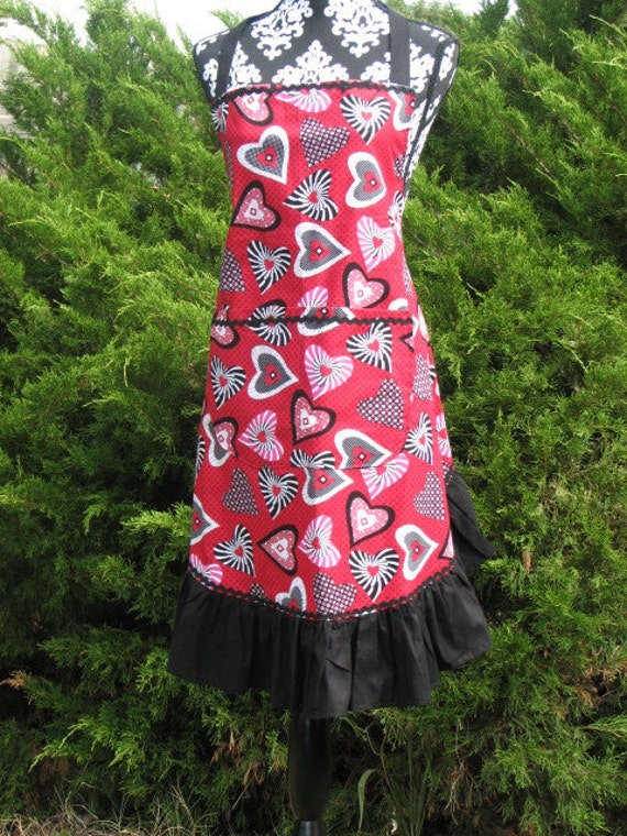Now on Sale Ladies Many Color Hearts  Valentine Full Apron