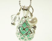 Silver Teardrop Locket with Turquoise Seaglass, Swarovski Crystal and Freshwater Pearl