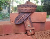 Women's or Men's Full Grain Leather Tooled Belt With  Piercing Detail, Unisex Brown Leather Belt Strap