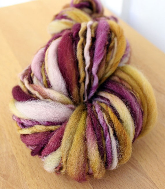 Sour Fruit- Hand Dyed Thick and Thin Handspun Yarn