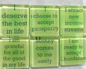 Attracting Abundance Affirmations Handmade Glass Magnets - Set of 6 in Tin - For when you are trying to attract money wealth new income