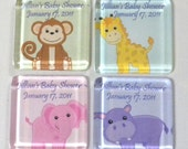 Jungle Safari Animals Baby Shower Magnets Personalized Party Favors Individually Wrapped - Set of 20