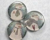 Snowman Magnets - Country Primitive Winter Handmade Glass Trio in Slider Gift Tin - Great Teacher or Co-Worker Gift