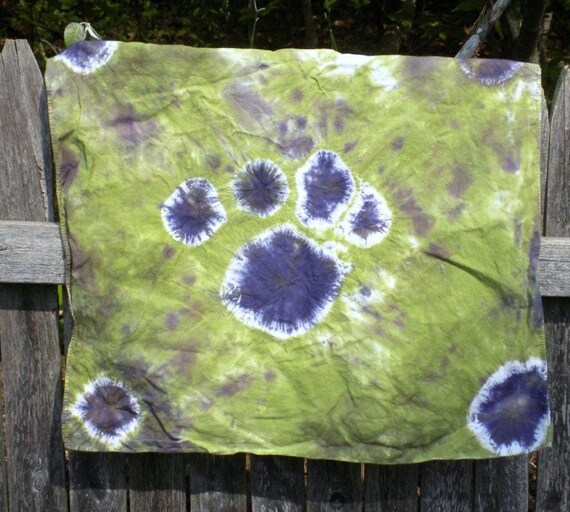 Bandana - Green and Purple Spots Tie Dye - Square