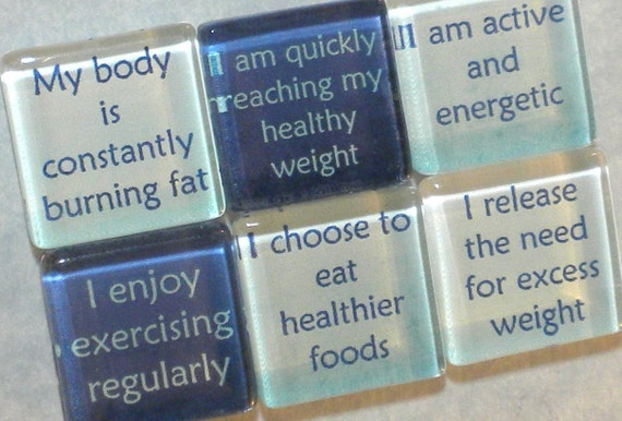 Weight Loss Affirmations Handmade Glass Magnets - Set of 6 in Tin
