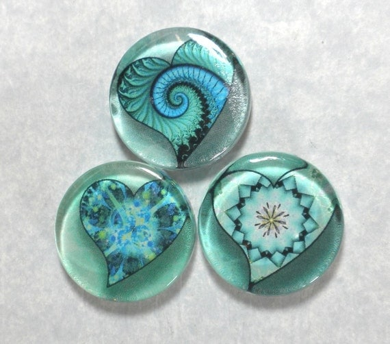 Spiral Fractal Hearts in Blue and Green Handmade Glass Magnets Set of 3 in Slider Gift Tin - Great Gift