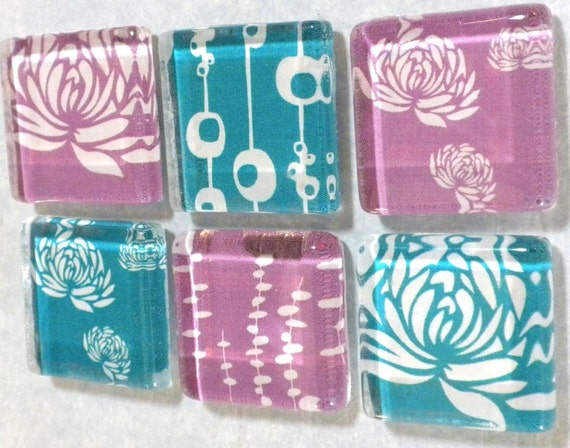 Water Lilies and Grasses in Blue and Purple Handmade Glass Magnet Set of 6 in Metal Gift Tin
