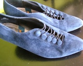 Blue Suede Shoes 1920s 1930s Vintage Inspired Button Shoes