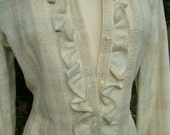 Vintage Wool Donald Davies ivory Ruffled evening gown simply gorgeous