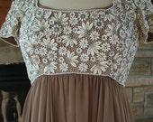 1960s beaded Mocha silk chiffon evening gown cocktail party dress rhinestones pearls beads galore