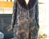 1960s Tapestry Coat in black brown design with mink collar gorgeous