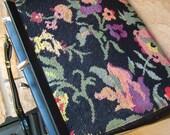Vintage floral black tapestry handbag purse tote retro 1970s carpet bag