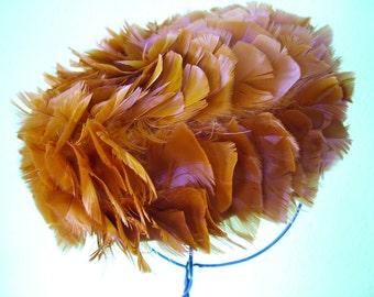 Burnt orange feathered 1960s Hat