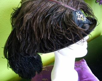 1915 to 1920s Black Cloche Hat