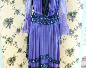 SALE 50 percent off 1920s Teens Fabulous Purple and Black Beaded Gown museum quality